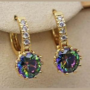 Jewelry - 18kgf mystic topaz leverback earrings